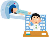 MRIと薬の処方のイラスト